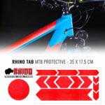 Tabella adesivi protettivi Rhino bicicletta, rosso fluo
